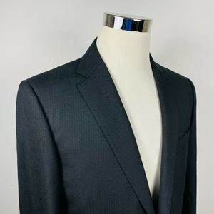 Canali Mens 40L Suit Jacket Super 120s Wool Black